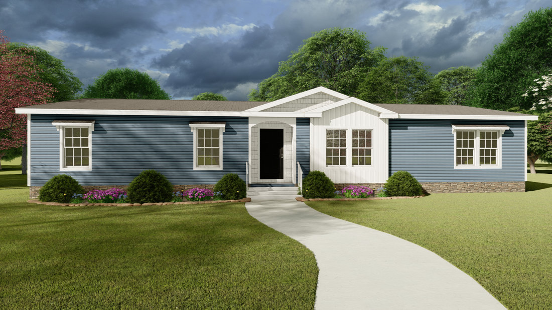 The 1337 64X28 CK4+2 FREEDOM Exterior. This Manufactured Mobile Home features 4 bedrooms and 2 baths.