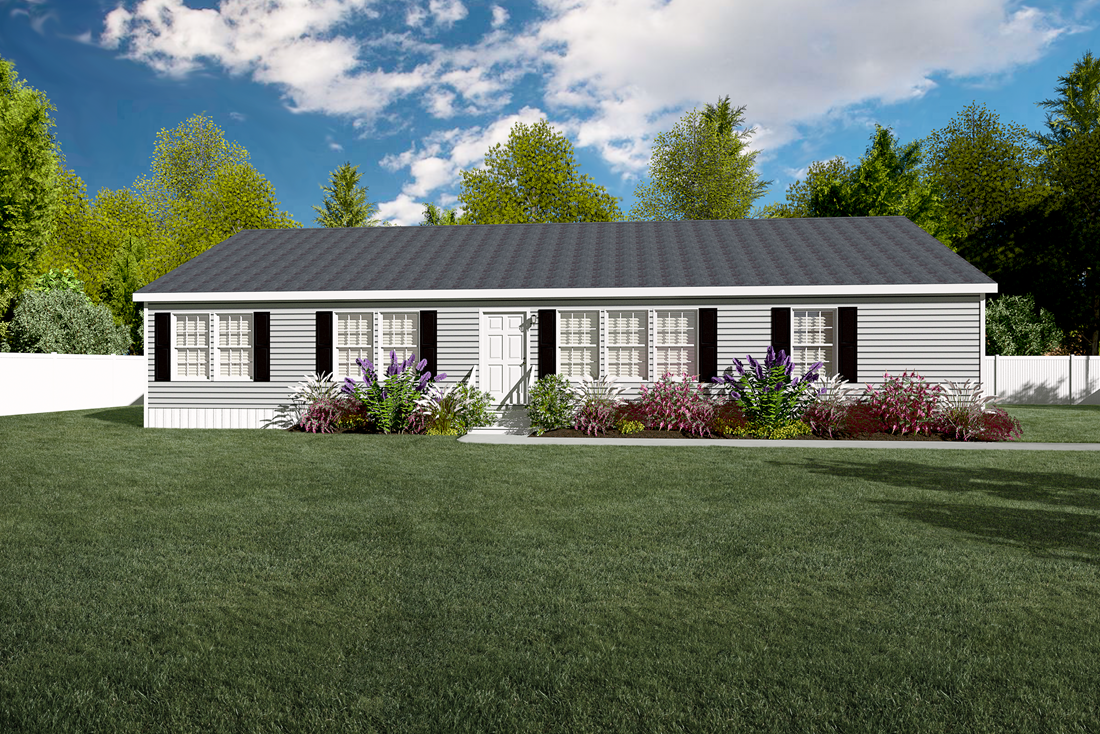 The 2914 HERITAGE Exterior. This Manufactured Mobile Home features 3 bedrooms and 2 baths.