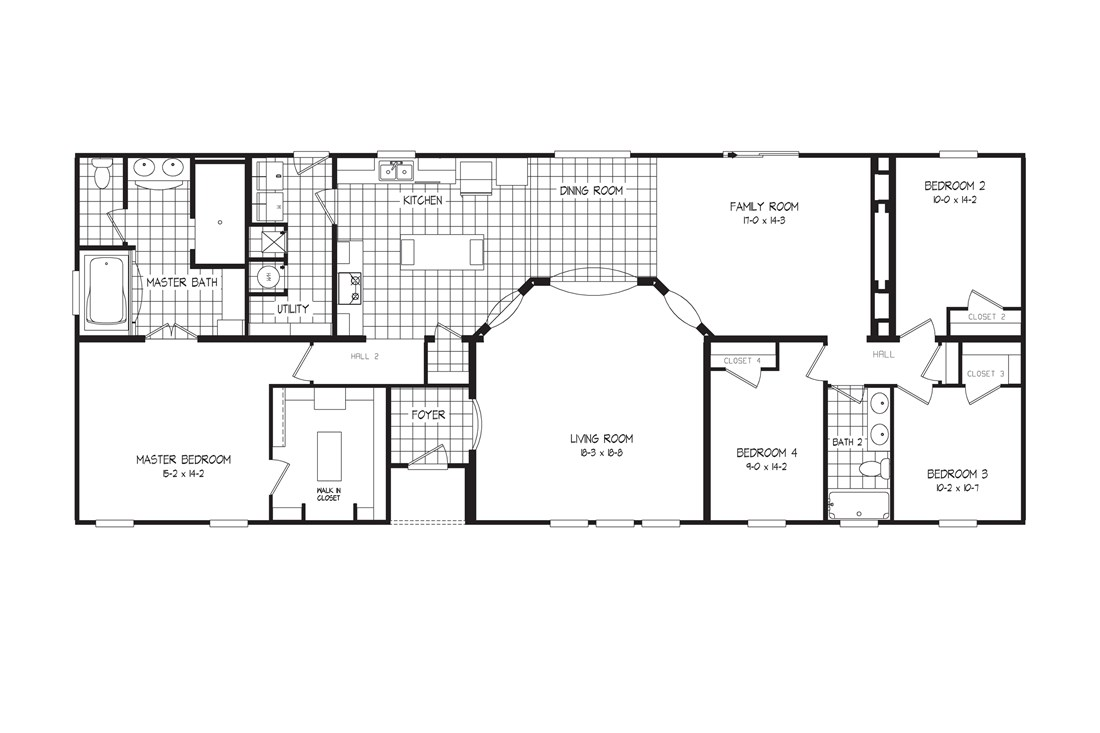 The 2085 76X32 CK4+2 HERITAGE Floor Plan