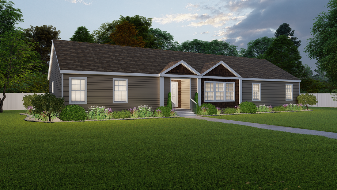 The 2485 76X32 CK4+2 HERITAGE MOD Exterior. This Modular Home features 4 bedrooms and 2 baths.