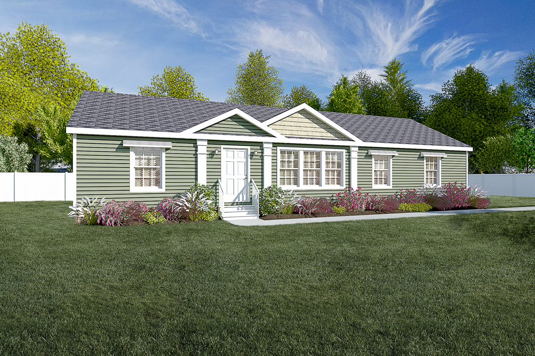 The 2467 HERITAGE Exterior. This Manufactured Mobile Home features 3 bedrooms and 2 baths.