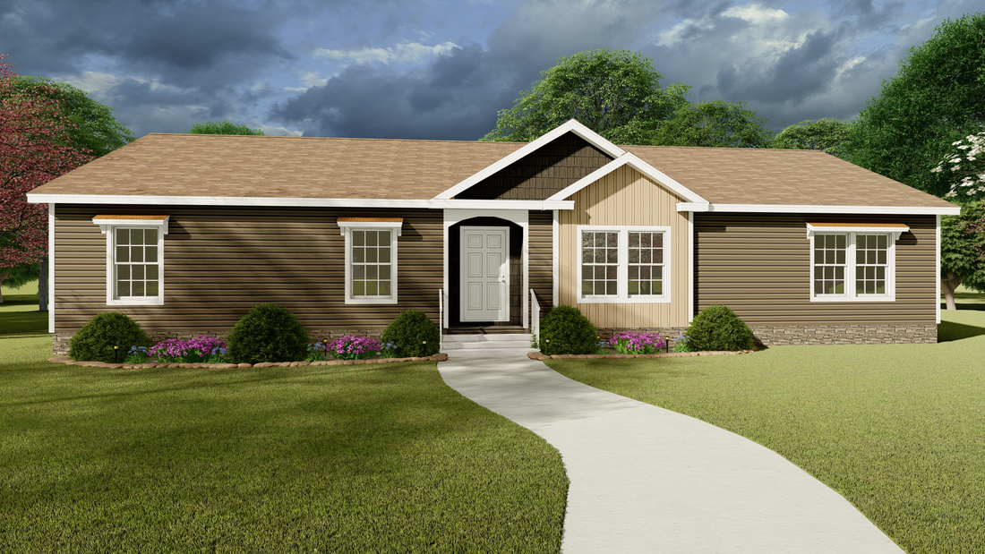 The 3337 64X28 CK4+2 FREEDOM MOD Exterior. This Modular Home features 4 bedrooms and 2 baths.