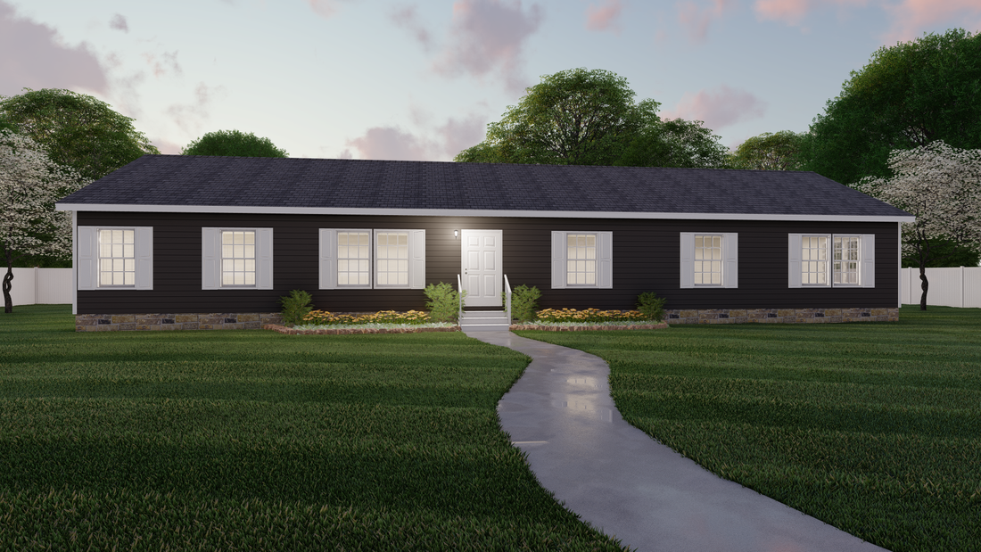 The 2917 HERITAGE Exterior. This Modular Home features 4 bedrooms and 2 baths.