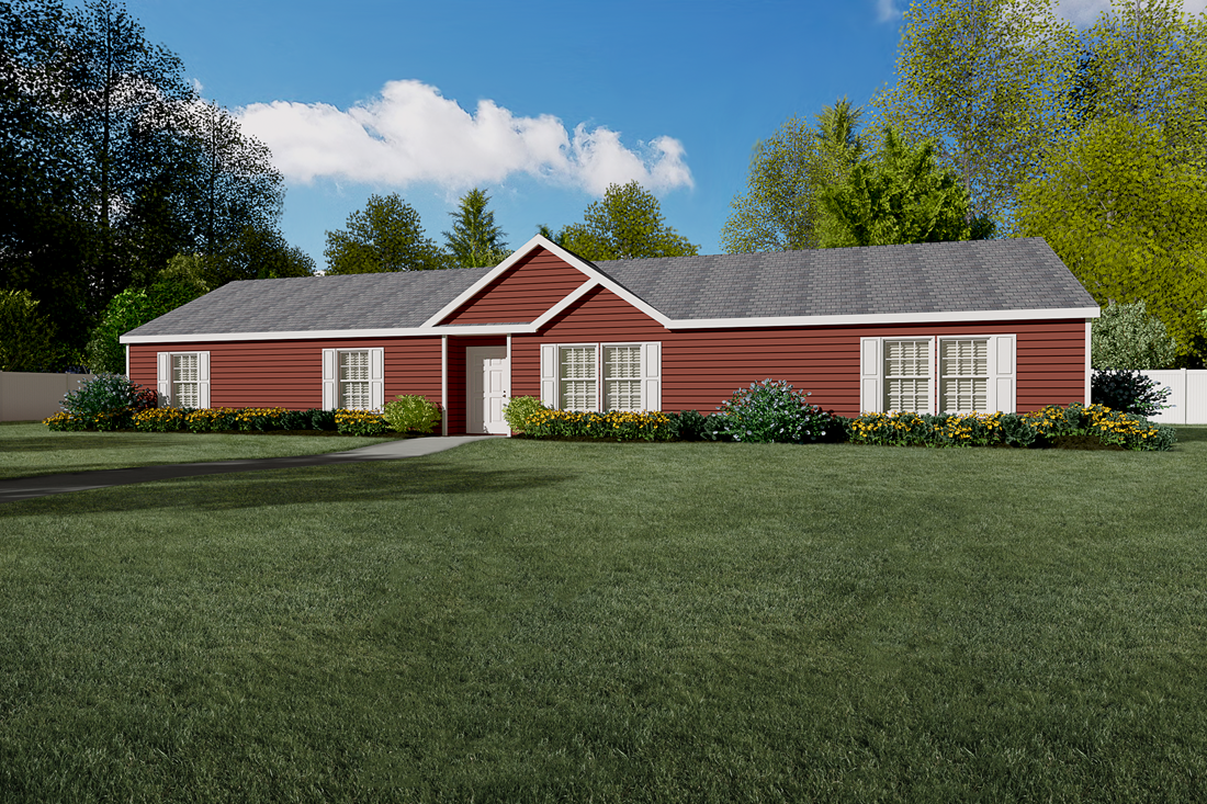 The 3338 HERITAGE Exterior. This Manufactured Mobile Home features 4 bedrooms and 2 baths.