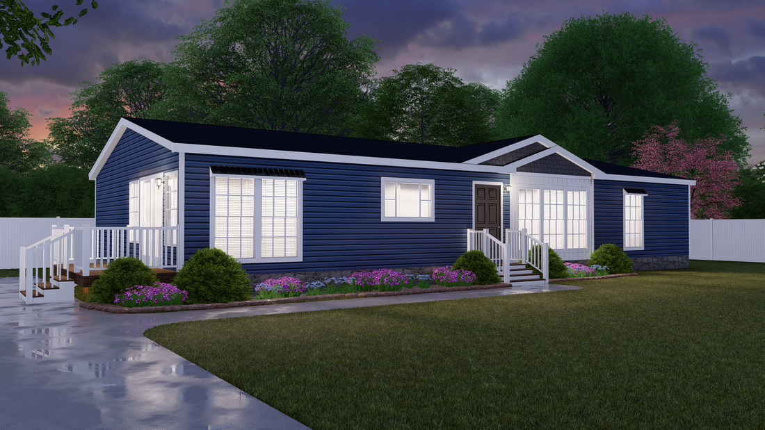 The 1714 HERITAGE Exterior. This Manufactured Mobile Home features 3 bedrooms and 2 baths.